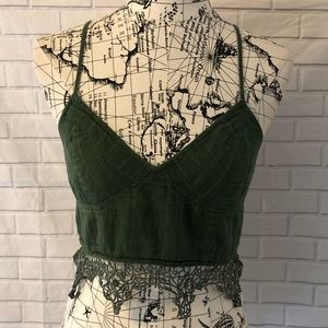 Free People one bralette green lace bra crochet